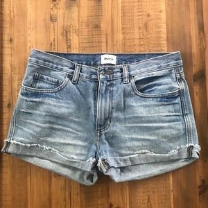 RVCA High Waisted Denim Shorts Size 27